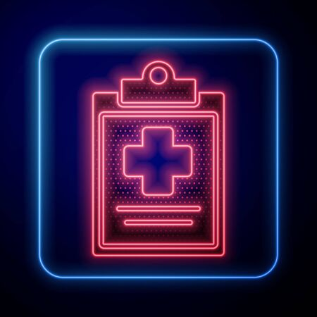 Glowing neon Medical clipboard with clinical record icon isolated on blue background. Health insurance form. Prescription, medical check marks report. Vector Illustration