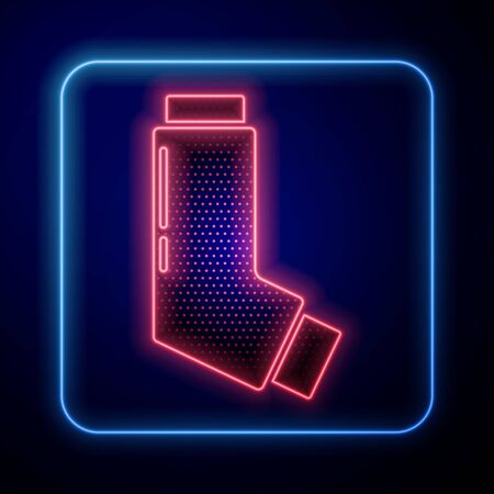 Glowing neon Inhaler icon isolated on blue background. Breather for cough relief, inhalation, allergic patient. Medical allergy asthma inhaler spray.  Vector Illustration