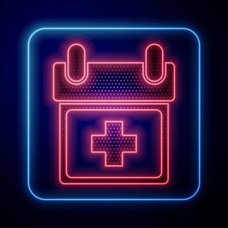Glowing neon Doctor appointment icon isolated on blue background. Calendar, planning board, agenda, consultation doctor.  Vector Illustration