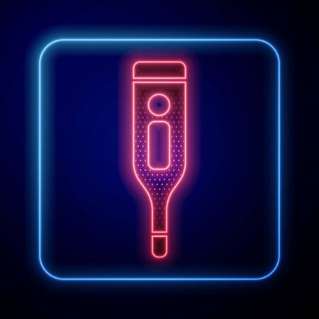 Glowing neon Medical digital thermometer for medical examination icon isolated on blue background.  Vector Illustration
