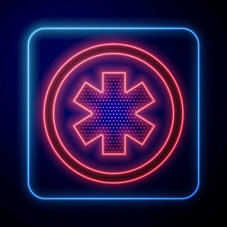 Glowing neon Medical symbol of the Emergency - Star of Life icon isolated on blue background. Vector Illustration