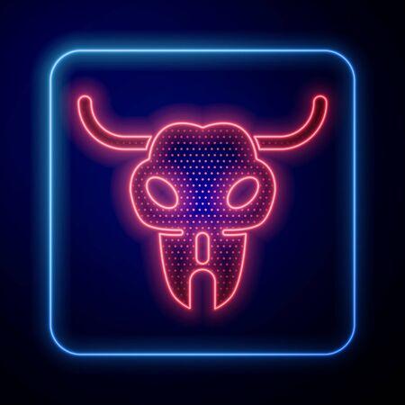 Glowing neon Buffalo skull icon isolated on blue background. Vector Illustration