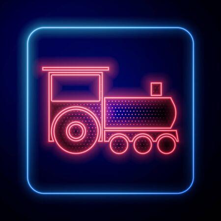 Glowing neon Retro train icon isolated on blue background. Public transportation symbol. Vector Illustration Standard-Bild - 140116773