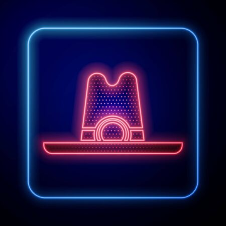Glowing neon Western cowboy hat icon isolated on blue background. Vector Illustration