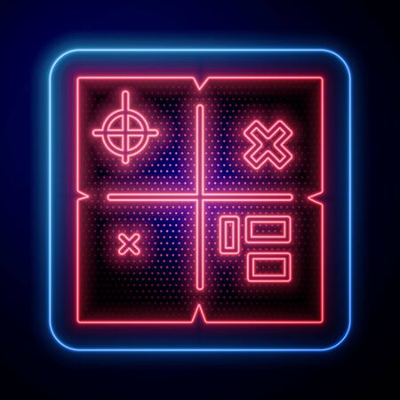 Glowing neon Treasure map icon isolated on blue background. Vector Illustration