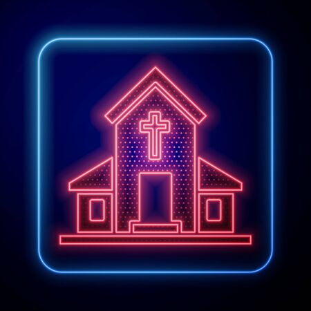 Glowing neon Church building icon isolated on blue background. Christian Church. Religion of church. Vector Illustration Ilustrace