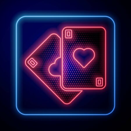 Glowing neon Playing cards icon isolated on blue background. Casino gambling. Vector Illustration