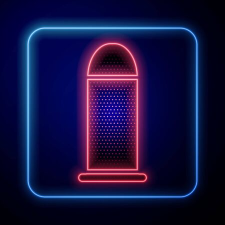Glowing neon Bullet icon isolated on blue background. Vector Illustration