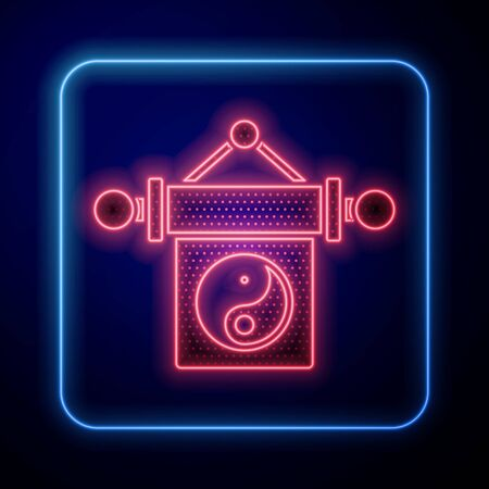Glowing neon Yin Yang symbol of harmony and balance icon isolated on blue background. Vector Illustration