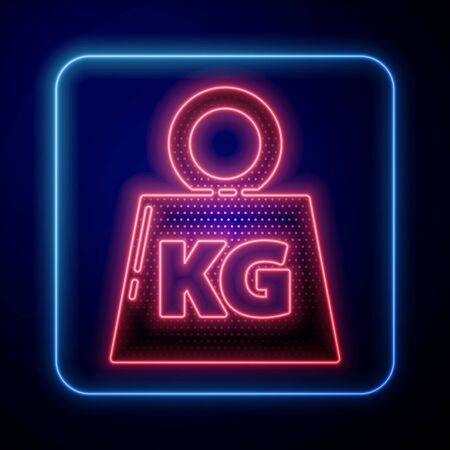 Glowing neon Weight icon isolated on blue background. Kilogram weight block for weight lifting and scale. Mass symbol.  Vector Illustration