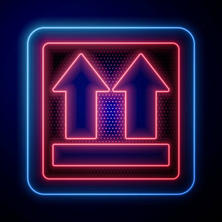 Glowing neon This side up icon isolated on blue background. Two arrows indicating top side of packaging. Cargo handled.  Vector Illustration Illustration