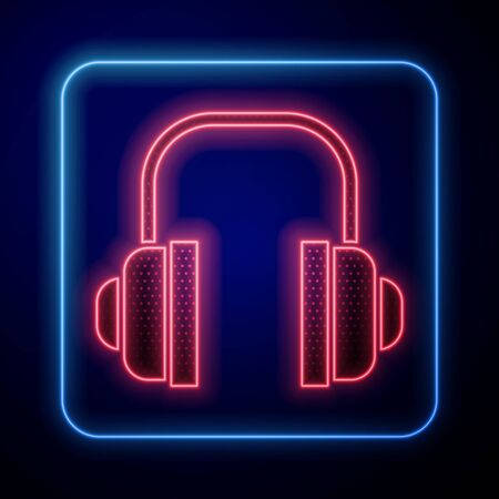 Glowing neon Headphones icon isolated on blue background. Support customer service, hotline, call center, faq, maintenance.  Vector Illustration Illustration