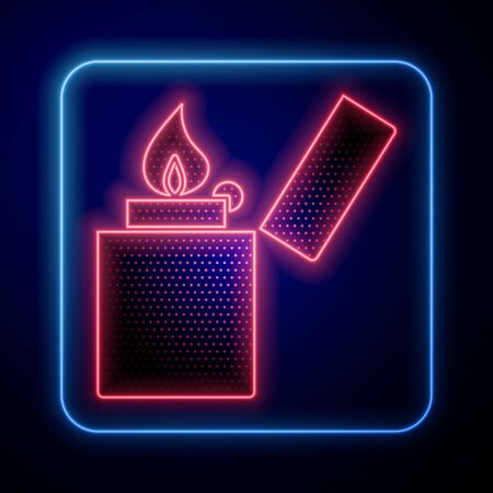 Glowing neon Lighter icon isolated on blue background. Vector Illustration