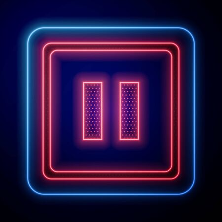 Glowing neon Pause button icon isolated on blue background. Vector Illustration