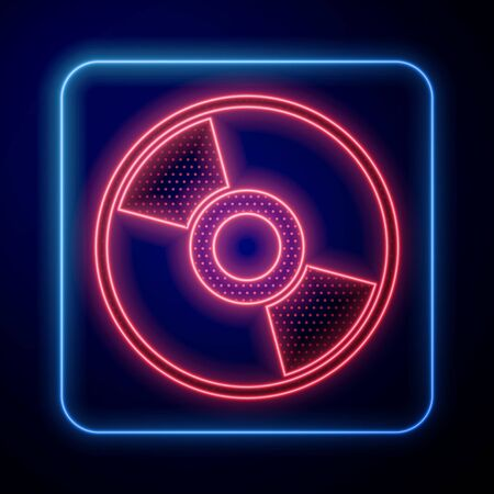 Glowing neon CD or DVD disk icon isolated on blue background. Compact disc sign. Vector Illustration Vectores
