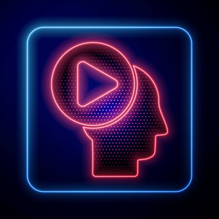 Glowing neon Head people with play button icon isolated on blue background. Vector Illustration