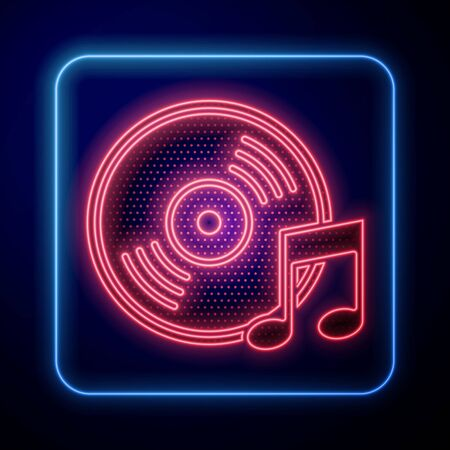 Glowing neon Vinyl disk icon isolated on blue background. Vector Illustration