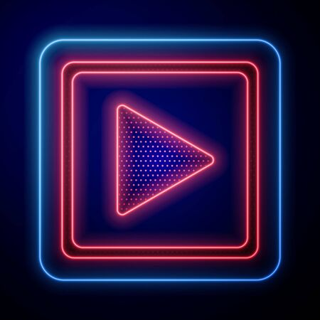 Glowing neon Play in square icon isolated on blue background. Vector Illustration Illustration