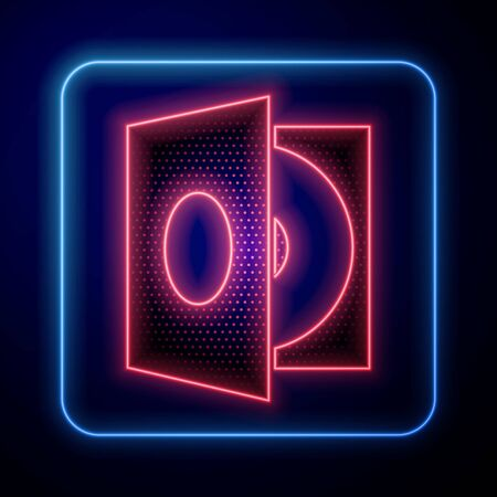 Glowing neon Vinyl player with a vinyl disk icon isolated on blue background. Vector Illustration