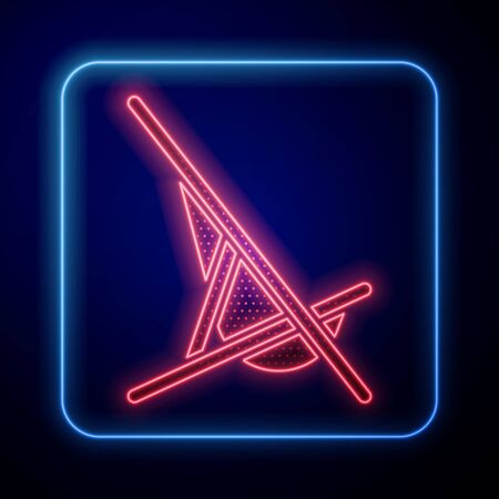 Glowing neon Sunbed icon isolated on blue background. Vector Illustration