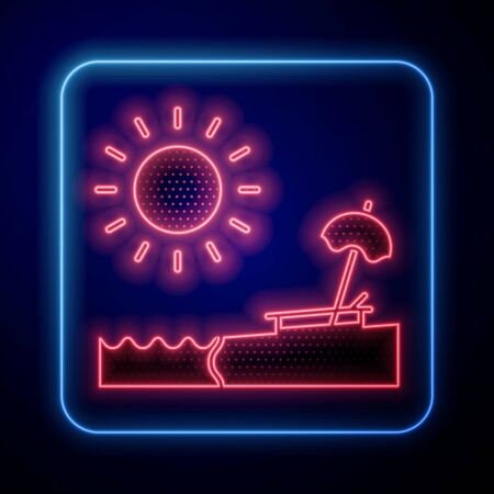 Glowing neon Beach with umbrella and chair icon isolated on blue background. Tropical beach landscape. Good sunny day. Vector Illustration