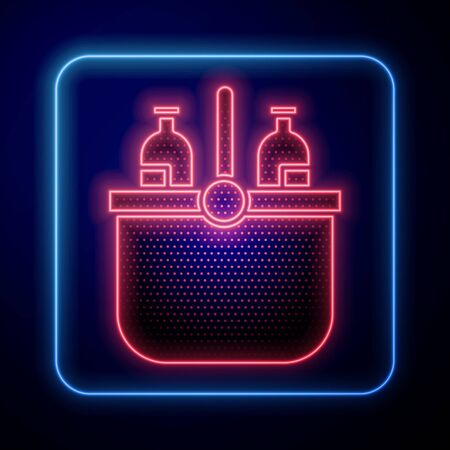 Glowing neon Cooler bag and water icon isolated on blue background. Portable freezer bag. Handheld refrigerator. Vector Illustration Stock Illustratie