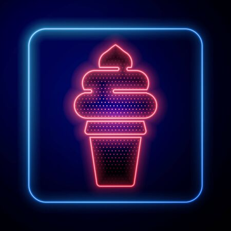 Glowing neon Ice cream in waffle cone icon isolated on blue background. Sweet symbol. Vector Illustration