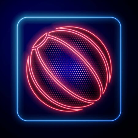 Glowing neon Beach ball icon isolated on blue background. Vector Illustration