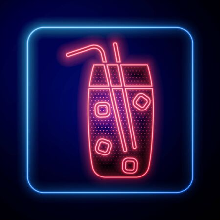 Glowing neon Cocktail and alcohol drink icon isolated on blue background. Vector Illustration