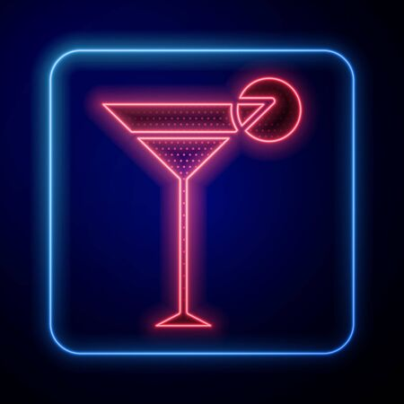 Glowing neon Martini glass icon isolated on blue background. Cocktail icon. Wine glass icon. Vector Illustration