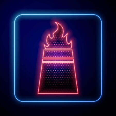 Glowing neon Oil rig with fire icon isolated on blue background. Fire accident. Gas tower. Industrial object. Vector Illustration
