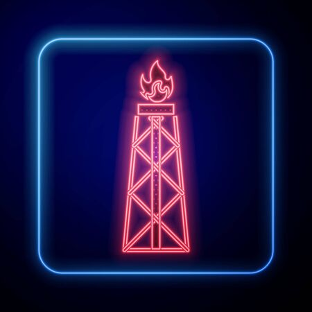 Glowing neon Oil rig with fire icon isolated on blue background. Gas tower. Industrial object. Vector Illustration