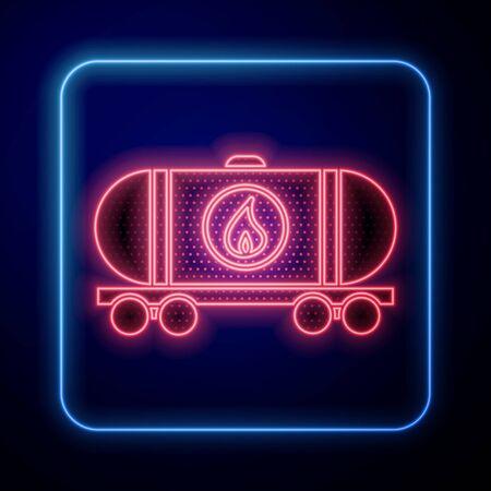 Glowing neon Oil railway cistern icon isolated on blue background. Train oil tank on railway car. Rail freight. Oil industry. Vector Illustration Standard-Bild - 140123209