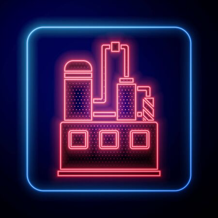 Glowing neon Oil and gas industrial factory building icon isolated on blue background. Vector Illustration