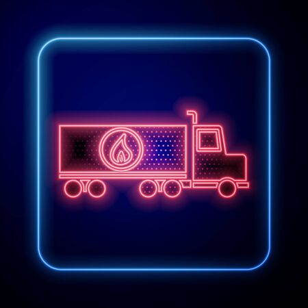 Glowing neon Tanker truck icon isolated on blue background. Petroleum tanker, petrol truck, cistern, oil trailer. Vector Illustration
