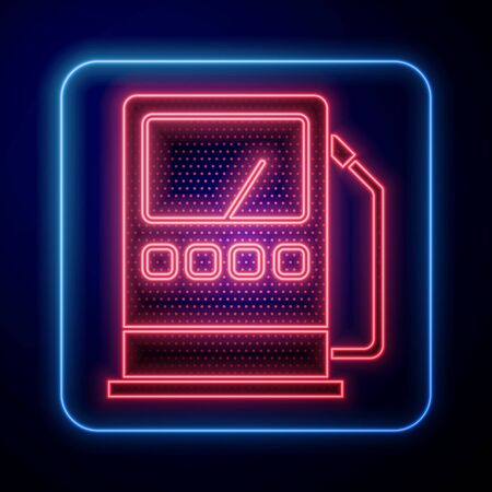 Glowing neon Petrol or gas station icon isolated on blue background. Car fuel symbol. Gasoline pump. Vector Illustration  イラスト・ベクター素材
