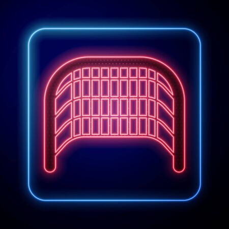 Glowing neon Ice hockey goal with net for goalkeeper icon isolated on blue background. Vector Illustration