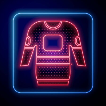 Glowing neon Hockey jersey icon isolated on blue background. Vector Illustration