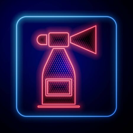 Glowing neon Air horn icon isolated on blue background. Sport fans or citizens against government and corruption. Vector Illustration