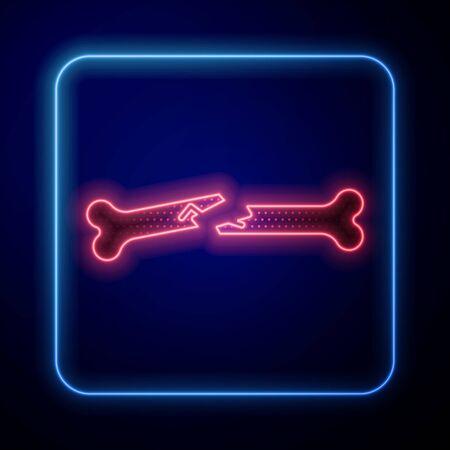 Glowing neon Human broken bone icon isolated on blue background. Vector Illustration