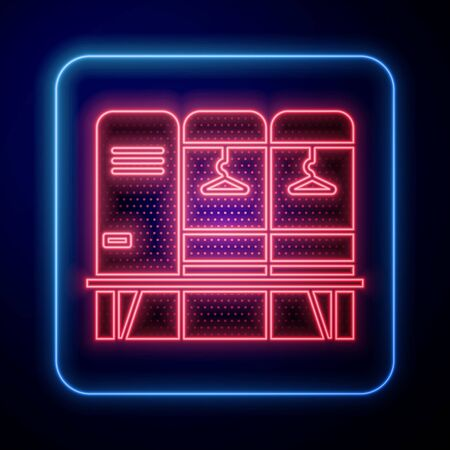 Glowing neon Locker or changing room for hockey, football, basketball team or workers icon isolated on blue background. Vector Illustration