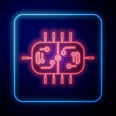 Glowing neon Hockey table icon isolated on blue background. Vector Illustration