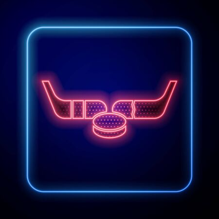 Glowing neon Ice hockey sticks and puck icon isolated on blue background. Game start. Vector Illustration