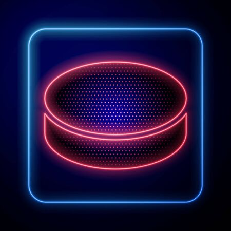 Glowing neon Hockey puck icon isolated on blue background. Vector Illustration