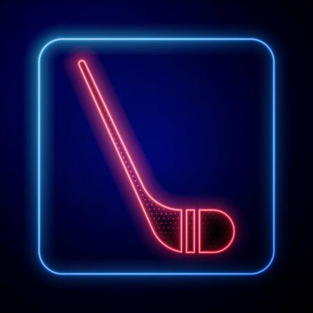 Glowing neon Ice hockey sticks icon isolated on blue background. Vector Illustration