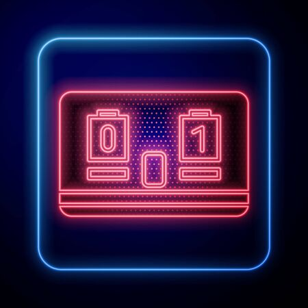 Glowing neon Sport hockey mechanical scoreboard and result display icon isolated on blue background. Vector Illustration
