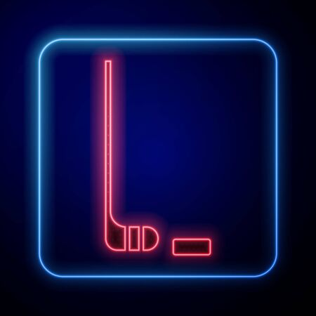Glowing neon Ice hockey stick and puck icon isolated on blue background. Vector Illustration Ilustracja