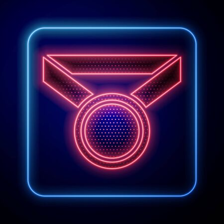 Glowing neon Medal icon isolated on blue background. Winner symbol. Vector Illustration