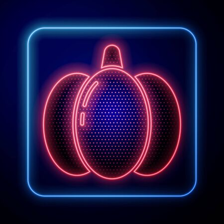 Glowing neon Pumpkin icon isolated on blue background. Happy Halloween party. Vector Illustration