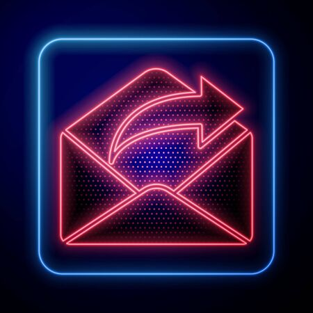 Glowing neon Outgoing mail icon isolated on blue background. Envelope symbol. Outgoing message sign. Mail navigation button. Vector Illustration